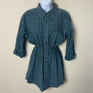 Upcycled Tommy Hilfiger Blue & Green Plaid Tunic Shirtdress (read description!)